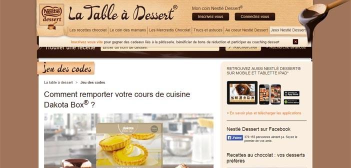Grand Jeu des codes Nestlé Dessert