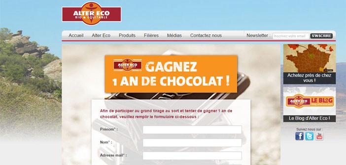 Jeu Altereco 1 an de chocolat à gagner