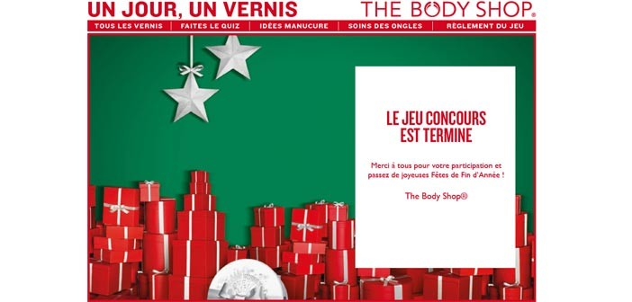 Jeu Calendrier de l'Avent The Body Shop