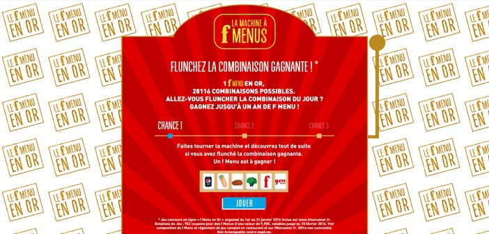 Grand Jeu Flunch F Menu en Or