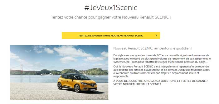 jeu concours renault scenic