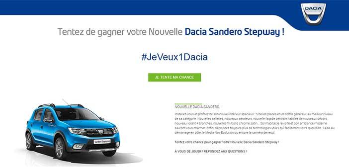 Jeveux1dacia.fr - Jeu Concours Dacia Sandero 2017