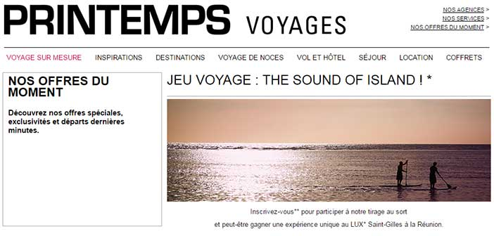 www.printempsvoyages.com - Jeu Printemps Voyage The Sound of Island