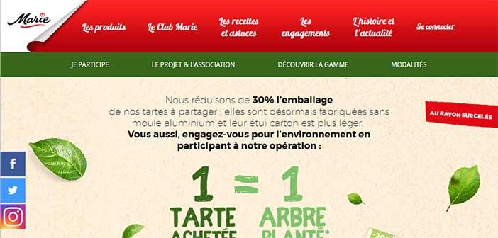 www.marie.fr/plantez-un-arbre - Opération Marie 1 tarte acheté = 1 arbre planté