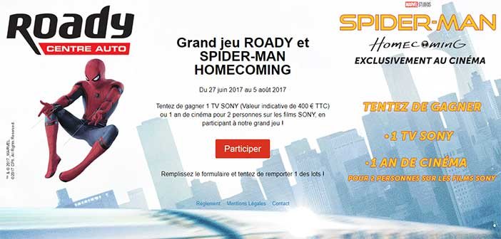 www.roady.fr - Jeu Roady Spiderman Homecoming