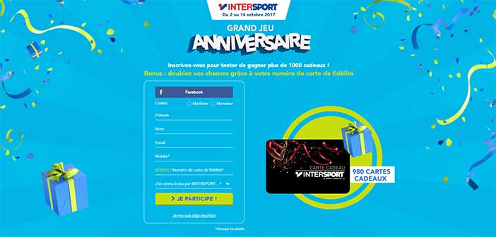 Jeu.intersport.fr - Grand Jeu Anniversaire Intersport