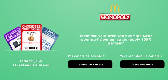 Monopoly Mcdo 2017 - Grand Jeu Mcdonald's Monopoly 100% gagnant