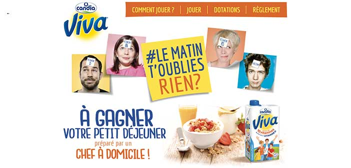 www.candia.fr - Jeu Candia Viva Le Matin t'oublies rien