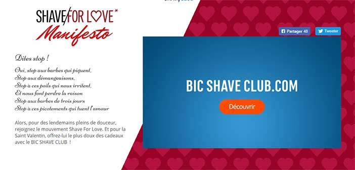 www.bicshaveclub.com - Jeu Shave For Love Bic Shave Club